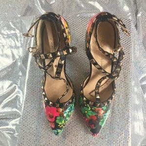 Floral studded heels